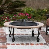 "Fire Sense 39"" Fire Pit w/Cast Iron Rim Faux Stone 30"" Fire Bowl"