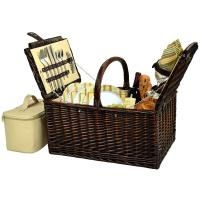 Picnic at Ascot Buckingham Picnic Basket for 4, Brown Wicker/Hamptons
