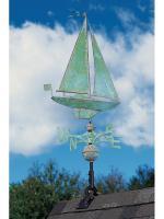 Copper Sailboat Weathervane - Verdigris