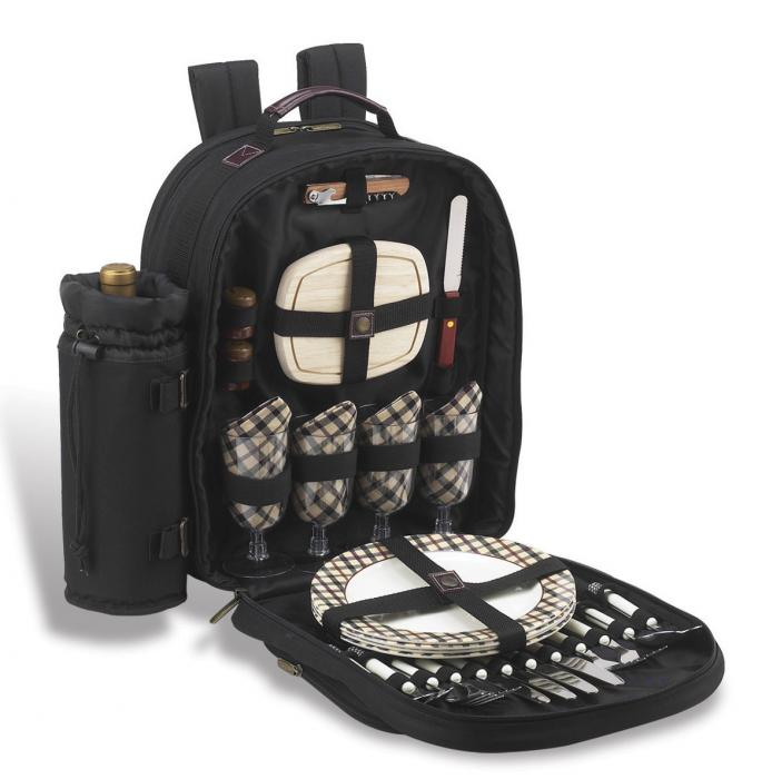 Picnic at Ascot - Deluxe Equipped 4 Person Picnic Backpack with Cooler & Insulated Wine Holder - London Plaid