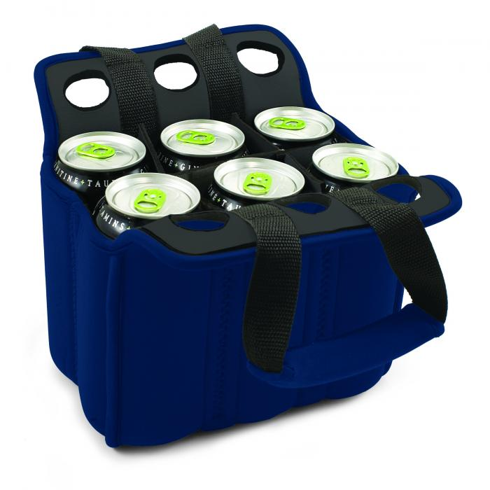 Picnic Time Insulated Six Pack Bottle/Can Holder, Navy