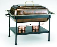 "Old Dutch 21"" x 16"" x 19"" Rectangular Antique Copper Chafing Dish 8 QT"