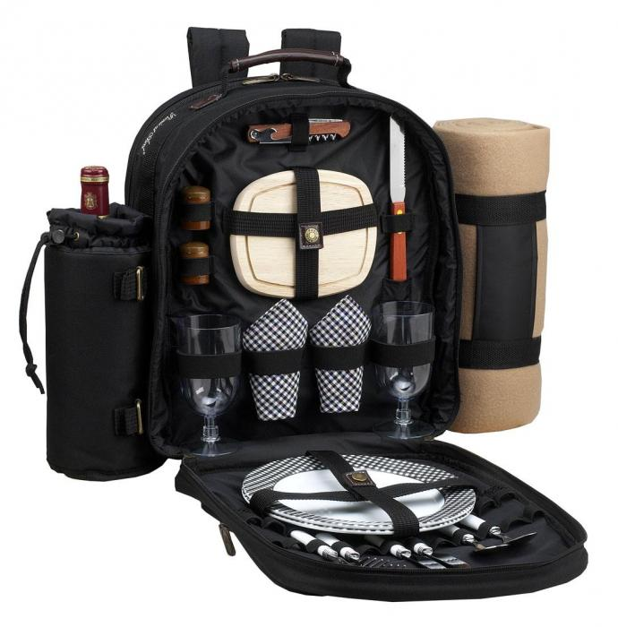 Picnic at Ascot - Deluxe Equipped 2 Person Picnic Backpack with Cooler, Insulated Wine Holder & Blanket - Black