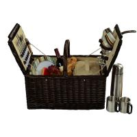 Picnic at Ascot Surrey Picnic Basket for 2 w/Coffee, Brown Wicker/Santa Cruz Stripe
