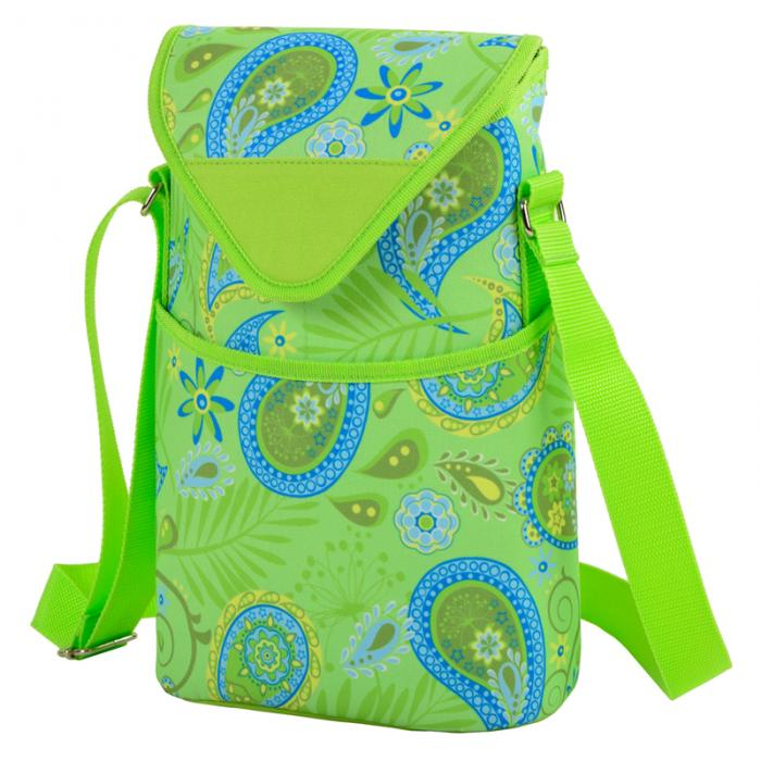 Picnic at Ascot Insulated Wine/Water Bottle Tote with Shoulder Strap -  Paisley Green