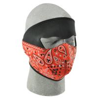 Cold Weather Headwear Neoprene Face Mask, Red Paisley Bandanna