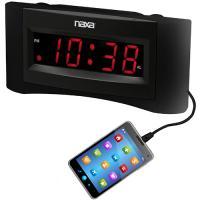 NAXA Easy Read Dual Alarm Clock w/USB Charger