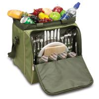 Picnic Time Verdugo Insulated Picnic Cooler for Four, Pine Green with Tan