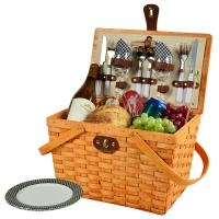 Picnic at Ascot Frisco Picnic Basket for 2, Black Gingham