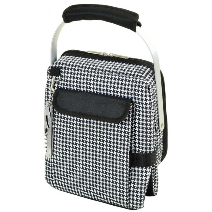Picnic at Ascot 4 Bottle Insulated Wine Tote- Collapsible Multi Purpose Cooler - Houndstooth