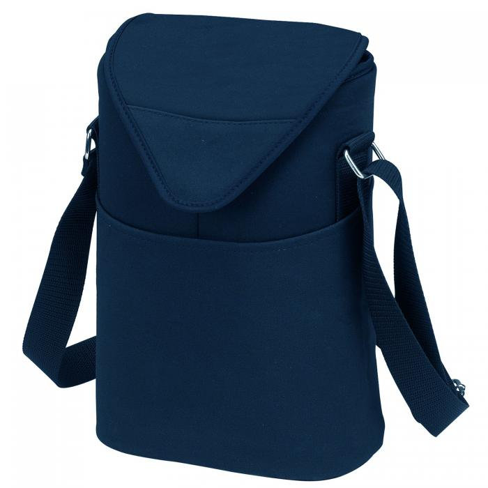 Picnic at Ascot Insulated Wine/Water Bottle Tote with Shoulder Strap -  Navy