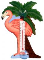 Songbird Essentials Flamingo & Palm Tree Large Window Thermometer