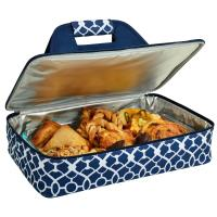 Picnic at Ascot Insulated Casserole Carrier to keep Food Hot or Cold- Trellis Blue