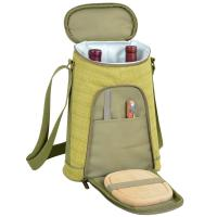 Picnic at Ascot Stylish 2 Bottle Insulated Wine Tote Bag with Cheese Board, Knife and Corkscrew - Hamptons