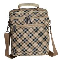 Primeware Beer Bag Tan Plaid 6 Bottle