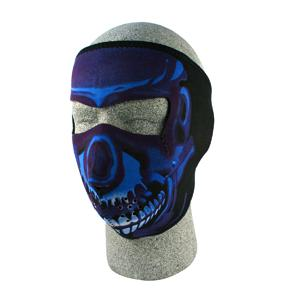 Cold Weather Headwear Neoprene Face Mask, Blue Chrome Skull
