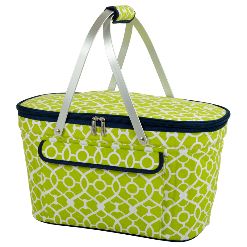 Insulated Market Basket Picnic Tote Trellis Green
