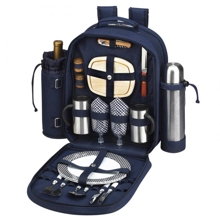 Picnic at Ascot - Deluxe Equipped 2 Person Picnic Backpack with Coffee Service, Cooler & Insulated Wine Holder - Navy