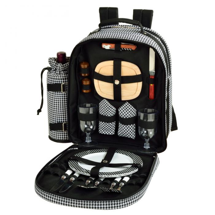 Picnic at Ascot - Deluxe Equipped 2 Person Picnic Backpack with Cooler & Insulated Wine Holder - Houndstooth