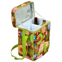 Picnic at Ascot Wine and Cheese Picnic Basket/Cooler with hardwood cutting Board, Cheese Knife and Corkscrew - Floral