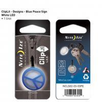 Nite-ize ClipLit Designs, Blue Peace Sign, White LED