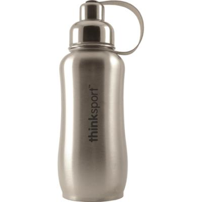 Thinksport Stainless Steel Water Bottle, 750ml, Silver