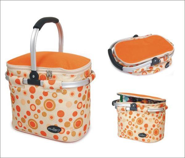 Picnic & Beyond Orange Empty Aluminum Framed Picnic Cooler Basket