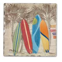 Counter Art Surf City Single Tumbled Tile Coaster