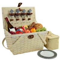 Picnic at Ascot Settler Traditional American Style Picnic Basket with Service for 4 - Black Gingham