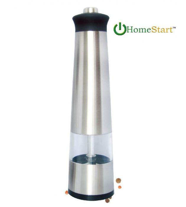 HomeStart Electric Salt & Pepper Grinder with LED Light Stainless Steel