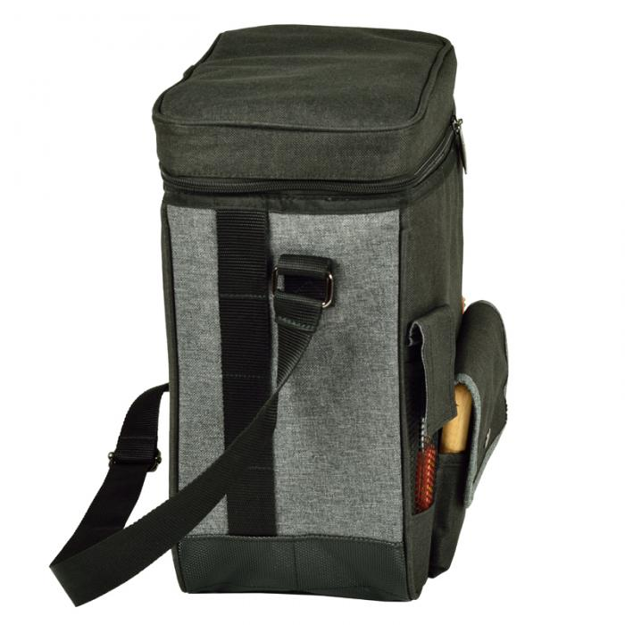 Picnic at Ascot Wine & Cheese Cooler Tote (Charcoal) w/ Acrylic Glasses