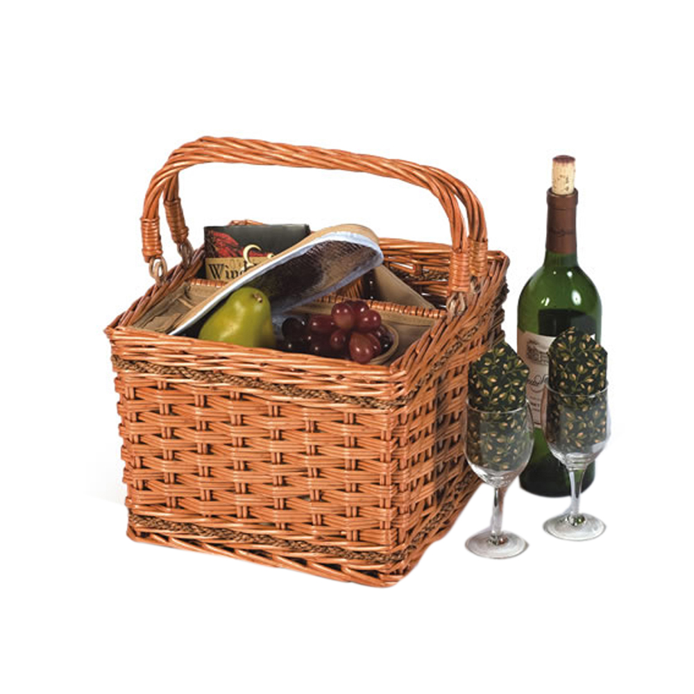 insulated picnic basket picnic plus tivoli insulated willow wine basket 12080