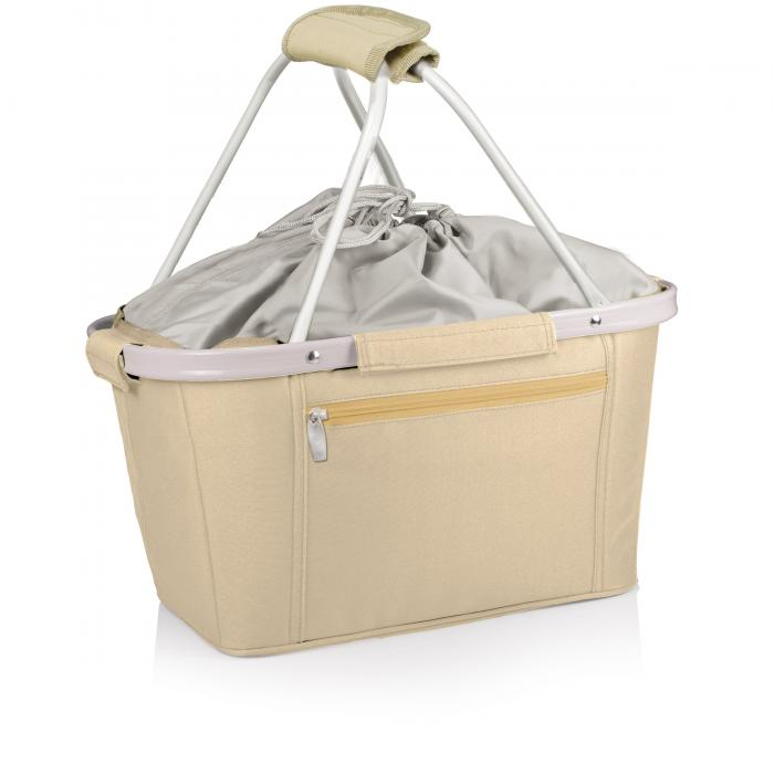 Picnic Time Metro Waterproof Polyester Canvas Empty Picnic Basket, Tan