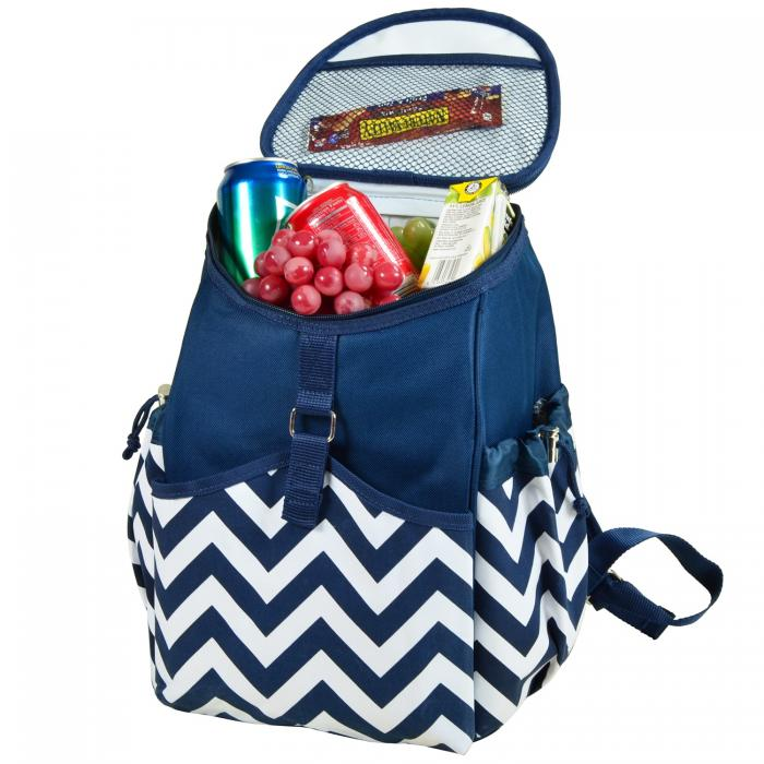 picnic at ascot insulated backpack cooler blue chevron - Backpack Coolers