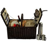 Picnic at Ascot Surrey Picnic Basket for 2 w/Coffee, Brown Wicker/London Plaid