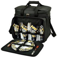 Picnic at Ascot Deluxe Picnic Cooler for Four - Black/Paris