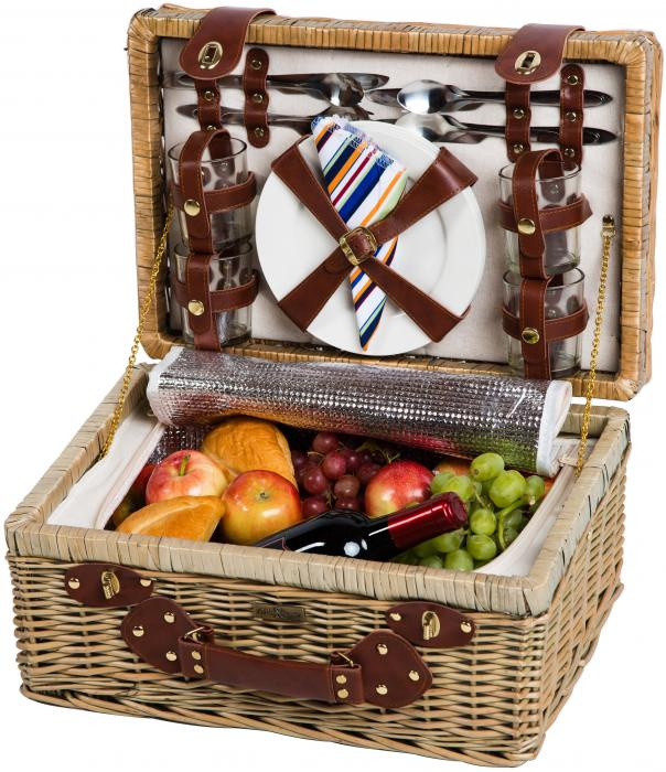 Picnic & Beyond Terazzo Willow Picnic Basket  with Ceramic Plates, Service for Four