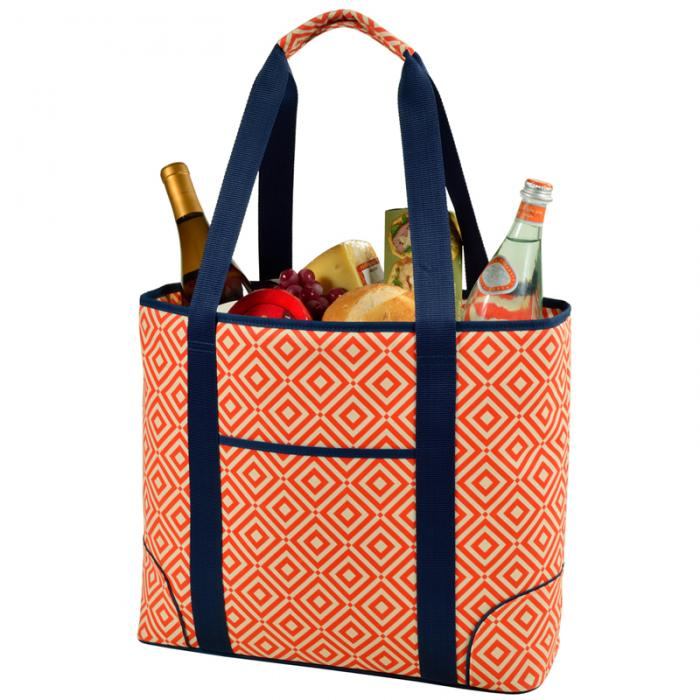 Picnic at Ascot  Extra Large Insulated Cooler Bag - 30 Can Tote - Orange/Navy