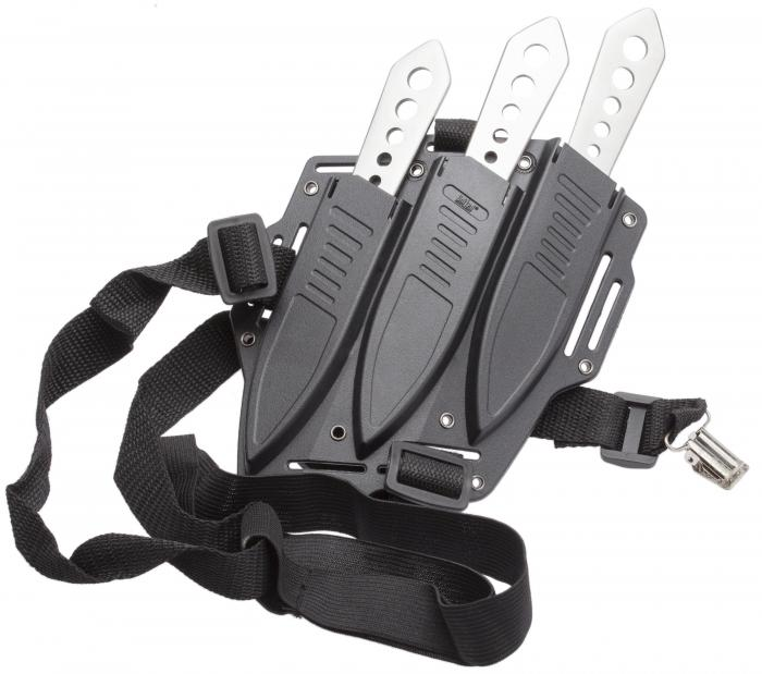 United Cutlery Lightning Bolt Triple Throwing Knife Set with Shoulder Harness