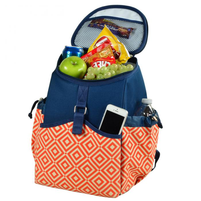 Picnic At Ascot Insulated Backpack Cooler Orange Navy