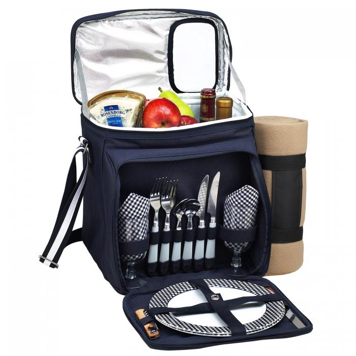 Picnic at Ascot Insulated Picnic Basket/Cooler Fully Equipped for 2 with Blanket - Navy/White