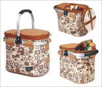 Picnic & Beyond Brown  Aluminum Framed Picnic Cooler Basket for 2