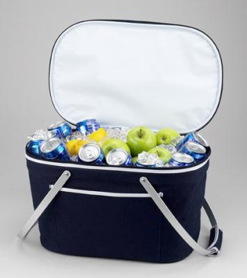 Picnic at Ascot Stylish Insulated Market Basket / Picnic Tote with Sewn in Aluminum Frame - Navy