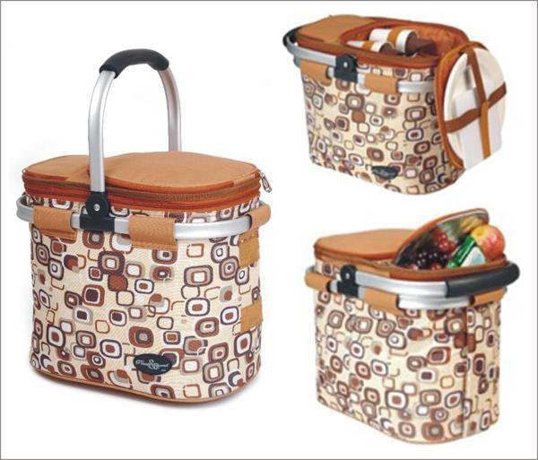Picnic & Beyond Brown  Aluminum Framed Picnic Cooler Basket for 2
