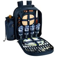 Picnic at Ascot Picnic Backpack for 4 - Trellis Blue
