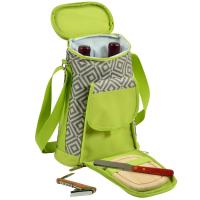 Picnic At Ascot Two Bottle Insulated Wine Tote & Cheese Set -Diamond Granite