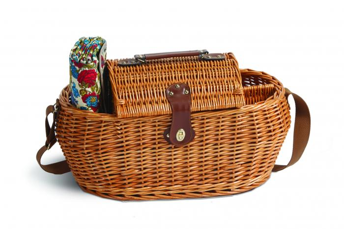 2 Person Picnic Plus Waterloo Willow Picnic Basket, Florabunda