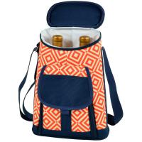 Picnic at Ascot Stylish 2 Bottle Insulated Wine Tote Bag with Cheese Board, Knife and Corkscrew - Diamond Orange